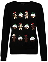 Novelty Womens Sequin Christmas Jumpers Ladies Knitted Sweater Top
