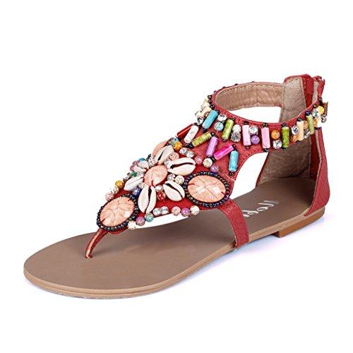 ndals Frauen Sommer Strand Sandalen Perlen Hausschuhe Flach Strass Hausschuhe (Farbe : Rot, größe : 36/UK4.5/US5.5/230mm) (Uk National Kostüm Für Kinder)