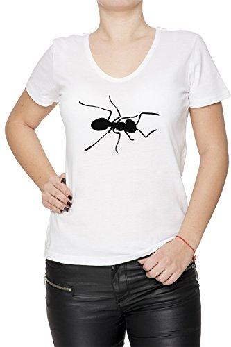Fourmi Blanc Coton Femme V-Col T-shirt Manches Courtes White Women's V-neck T-shirt
