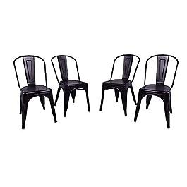 FANGYU Chair Chaise de Salle à Manger en métal Noir Style Moderne siège en Bois Massif Chaise kichen Ensemble de 4