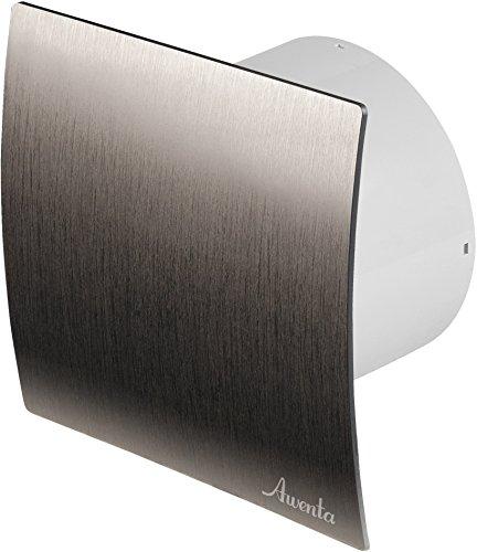 Badventilator Ø 150 mm silber gebürstet mit Feuchtigkeitssensor Hygrostat sowie Timer Nachlauf und Rückstauklappe WES150H Lüfter Ventilator Front Wandlüfter Badlüfter Ventilator Einbaulüfter Bad Küche leise 15 cm