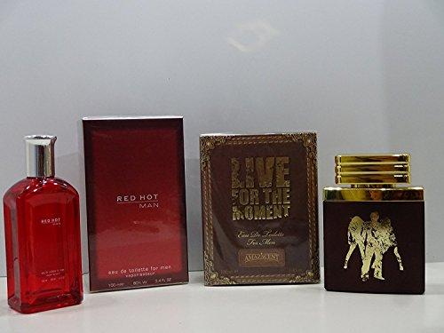 Blue pour homme Red Hot Man Eau de toilette et Live pour le Moment Parfum Ensemble cadeau, 2 pièces