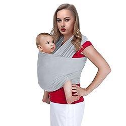 Bauchtrage Babytrage Tragetuch Babytragetuch Baby Trage Carrier bis 17kg (hellgrau)