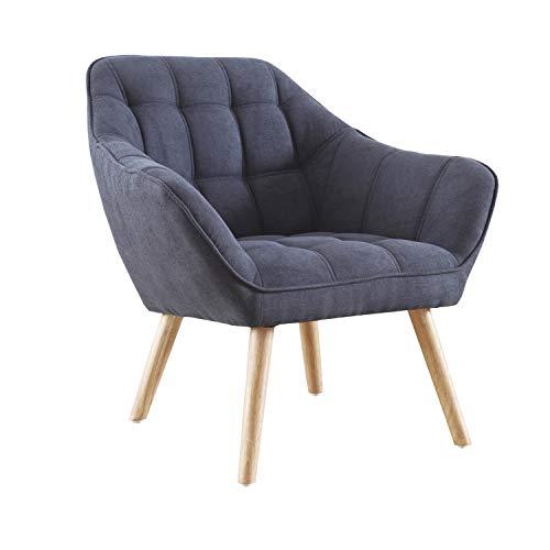 Adec - Olden, Sofa Individual de una Plaza, Sillon Descanso una 1 Persona, butaca acabada en Tejido Color Gris, Patas de Madera Color Haya, Medidas: ...