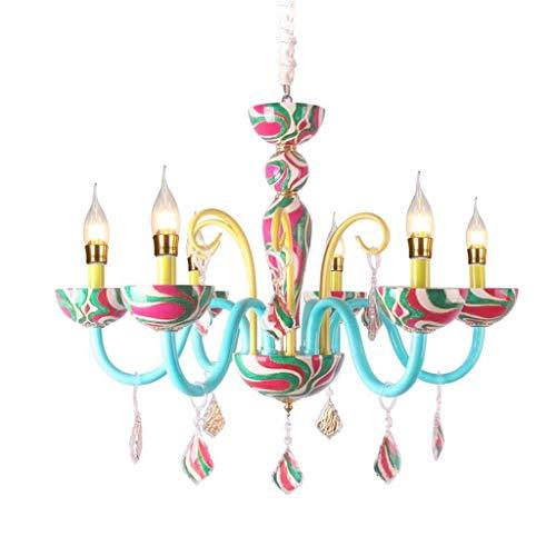 Wcp lampadario di cristallo blu lampadario di cristallo francese pastorale dei cartoni animati bambini s camera illuminazione delle ragazze creative camere cura degli occhi di laminati a caldo e14 la