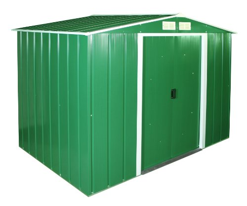 Duramax ECO 8' x 6' Hot-Dipped Galvanized Metal Garden Shed - Green with Off-White Trimmings - 15 Years Warranty