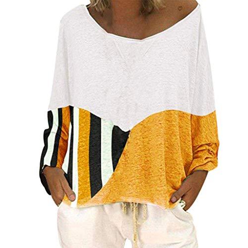 kolila Damen Oberteile Tops Plus Size Lose Rundhals Beiläufige Langarm Farbblock Patchwork Shirts Blusen Pullover Tunika
