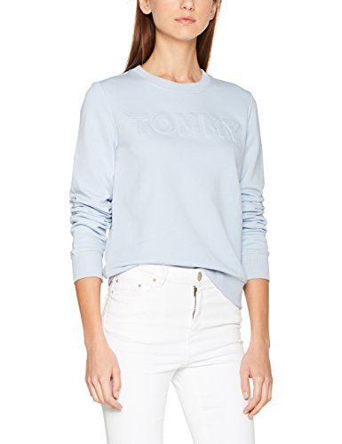 Tommy Hilfiger Damen Tommy Embossed C-NK Sweatshirt LS, Blau (Kentucky Blue 406), X-Small