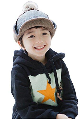 Bigood Bonnet Casquette Bébé Enfant Coton Chapeau Cache Oreilles avec Pompon Chauffant