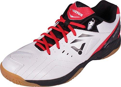 VICTOR SH-A170 Indoor Sportschuh / Badmintonschuh / Squashschuh / Hallenschuh, Weiß/Rot/Schwarz, Größe 43