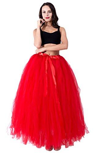 Honeystore Damen's Rock Tutu Tuturock Tütü Petticoat Tüllrock mit Gummizug für Karneval, Party und Hochzeit Rot