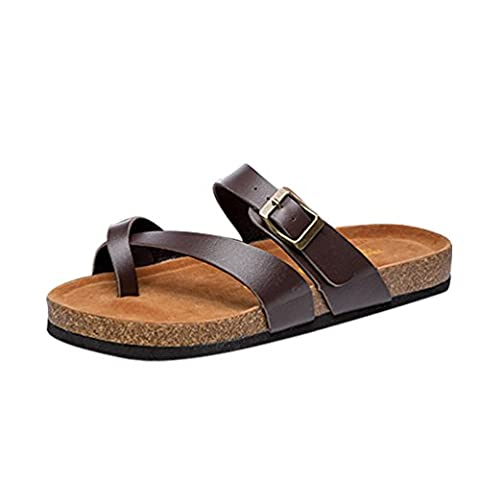 ZKOO Womens Cork Sandals Flip Flop Shoes Open Toe Ankle PU Leather Strap Flat Sandals Beach Shoes With Buttons Casual For Lady Brown