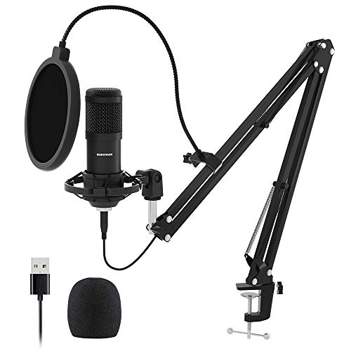 USB Mikrofon, SUDOTACK professionelles podcast mikrofon 192KHZ / 24Bit Studio Cardioid-Kondensatormikrofon-Kit mit Soundkarte Boom Arm Shock Mount Pop-Filter für Skype, Rundfunk, Youtube,Podcasts uvm