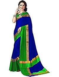 Indira Designer Women's Green Color Art Cotton Silk Saree With Blouse