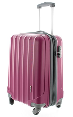 100% ABS Hartschalen Koffer / Trolley mit 4 Rollen und Zahlenschloss, Pianeta Serie Ibiza (M (55cm), Berry) -