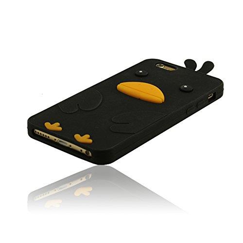 Mignon Canard Conception Coque pour iPhone 6 / iPhone 6S + Stylus Pen, Case pour iPhone 6 / iPhone 6S (4.7 Pouce) Souple Doux Silicone Housse etui de Protection Noir
