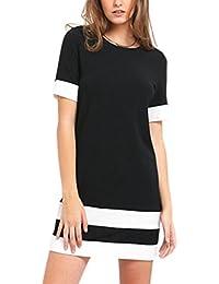 3a7c423a2 Vestidos Verano Mujer Casual Camisetas Vestido Corto Rayas Ropa Fiesta Moda  Cuello Redondo Manga Corta Elegante Fiesta T Shirt Slim…