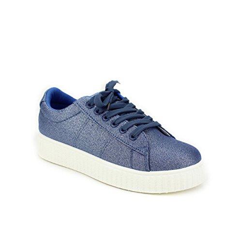 Cendriyon Basket Blue Paillettes CK Moda Chaussures Femme Bleu