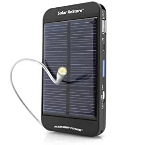 ReVIVE Solar Charger Portable Backup Battery Power Bank w/ Rechargeable 1500mAh Battery , Universal USB Port , UK 3-Pin AC Adapter & LED Torch Light - Perfect for Travelling , Hiking , Camping & More!