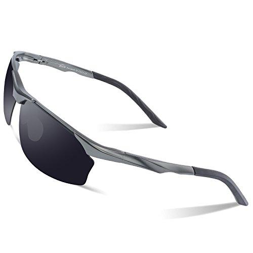 DUCO Polarisierte Sonnenbrille Herren für Radfahren Angeln Golf Unzerbrechlich 8513S Gunmetal Rahmen Grau Linse