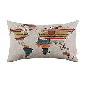 Hidoon® 20 Inchx12 pulgadas retro colorido de madera del listón del mapa del mundo de la arpillera fundas de cojines + Funda de almohada Almohada Insertar