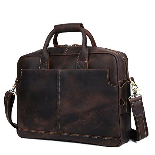 MystiTL Herren Vintage Umhängetasche 14 Zoll Laptoptasche Messenger Bag Aktentasche Schultertasche Arbeitstasche Dunkelbraun