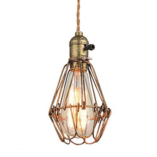 NIUYAO Retro Industrie Kronleuchter Metall Hänge Pendelleuchten Cage Lampenschirm Innenbeleuchtung Loft Stil 1 Licht-Bronze -