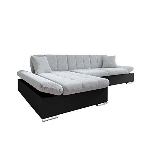 Mirjan24  Ecksofa Malwi mit Regulierbare Armlehnen Design Eckcouch mit Schlaffunktion und Bettkasten, L-Form Sofa vom Hersteller, Couch Wohnlandschaft (Soft 011 + Bristol 2460, Ecksofa: Links)