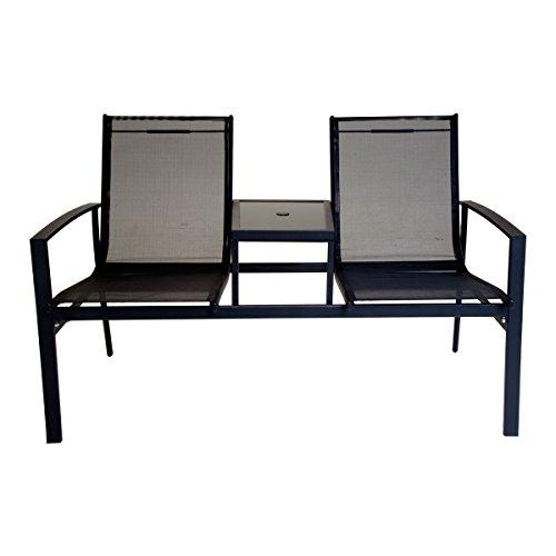 Charles Bentley 2-Sitzer Stuhl Textilen Companion Set Love Sitz Gartenbank im Freien - Schwarz