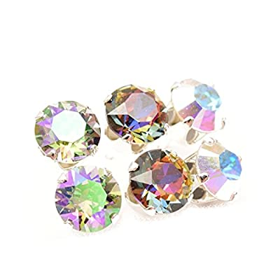 End of line clearance. 3 pairs of Sterling Silver stud earrings expertly made with Volcano, Aurore Boreale and Paradise Shine crystal from SWAROVSKI®