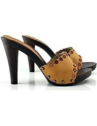 kiara shoes Zueco de Cuero con Tacon 11 cm -K22301 Cuoio 2b8cf71978e