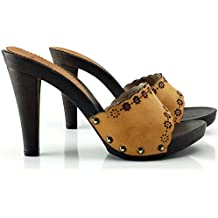 kiara shoes Zueco de Cuero con Tacon 11 cm -K22301 Cuoio