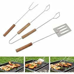 3Pcs BBQ Tools Shovel Fork Clip Barbecue Grill