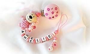 Baby Schnullerkette für Mädchen mit Teddy und Wunschnamen - Kinder - Geschenk zur Geburt, Taufe - Länge: max. 22cm (ohne Clip) - (Altrosa, Blümchen)