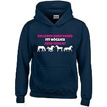 Reiten Kapuzenpullover 'Ein Leben Ohne Pferd Ist Möglich Aber Sinnlos ' mit rosa und weißen drucken