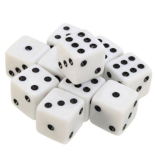 Würfel 6 Seitige Wüfeln Dice Würfel Set für Mathematiklernen Kasino Spiel Fest und Geschenk Mit Einem Beutel 100 Stück 8mm (Weiß) (Feste Würfel)