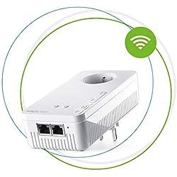 devolo Magic 2 WiFi:Kit de Démarrage - Powerline fantastique avec fonction WiFi, WiFi ac jusqu'à 2400 Mbits/s, 2 connecteurs Ethernet Gigabit, prise de courant intégrée,WiFi Mesh, point d'accès, blanc