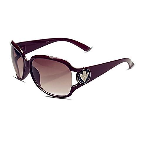 Mode Femme Lunettes de soleil avec grand cadre élégant rond vintage/rétro Motif et 100% UV400protection Eyewear Cadre carré Lunettes de natation Lunettes, femme, Multi Frame | Brown Lens