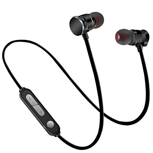 Fone-Stuff Kabellose Bluetooth-Kopfhörer, Einstellbare, schweißresistente, In-Ear-Sport-Ohrhörer Freisprecheinrichtung mit Mikrofon Zum Laufen, Fitnesstraining - Schwarz