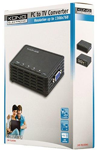 König CMP-TELVIEW3 convertidor de video - Conversor de vídeo (Negro, RCA, S-Video, USB, VGA, 8,42 cm, 6,42 cm, 2,4 cm, 19 cm)