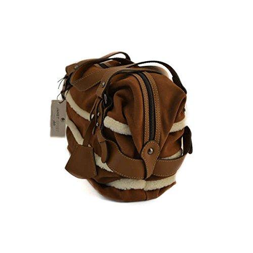Borsa baulotto Janet Sport a spalla in camoscio beige marrone 30981CUOIOBIANCO
