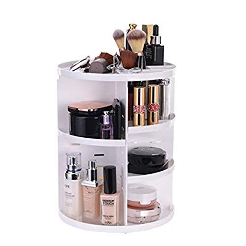 ZHLU 360 ° c Rotation Cadre de Maquillage, étui cosmétique en Plastique, boîte de Rangement cosmétique, Support de Stockage de Soins de la Peau,White
