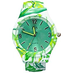 Ladies Green Floral Pattern Beautiful Round Face Bracelet Bangle Watch With Extra Battery