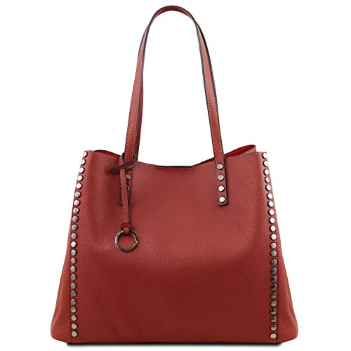Tuscany Leather TL Bag Borsa shopper in pelle morbida Talpa scuro Rosso