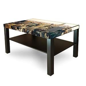 Grande table basse/d'appoint en bois avec motif new york city