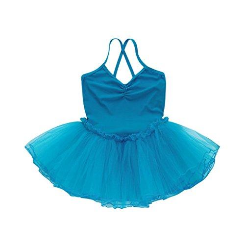 Minshao Mädchen Ballett Kleid Tutu Trikot Tanz Gymnastik Strap Kleidung Outfits (Blau, - Mädchen Trikot 5t