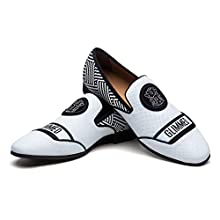JITAI Men's Penny Loafers Moccasin Driving Shoes Slip On Flats Dress Shoes, White 01, 12 UK