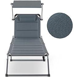 Blumfeldt Amalfi Noble Gray • Transat • Chaise Longue • Bain de Soleil • Bronzage • Confortable • Surface rembourrée • Pare-Soleil • Dossier réglable • Résistant aux intempéries • Robuste • Gris