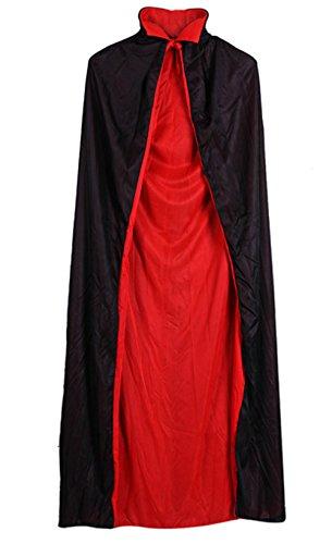 Snsunny Erwachsene Kinder Umhang Kostüm Stand Kragen Cape Mantel Für Halloween Party Ostern Weihnachten(140cm, Schwarz+Rot)