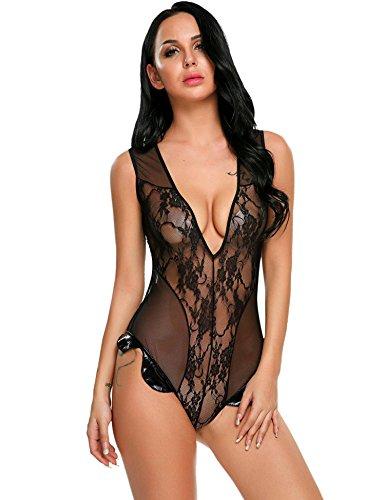 ADOME Women Sexy Lingerie 1 Piece Deep V Neck Lace Bodysuit Babydoll Teddy Nightwear